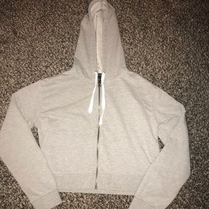 Forever 21- grey cropped zip up